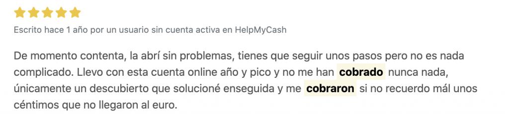 BBVA cuenta online opiniones de HelpMyCash
